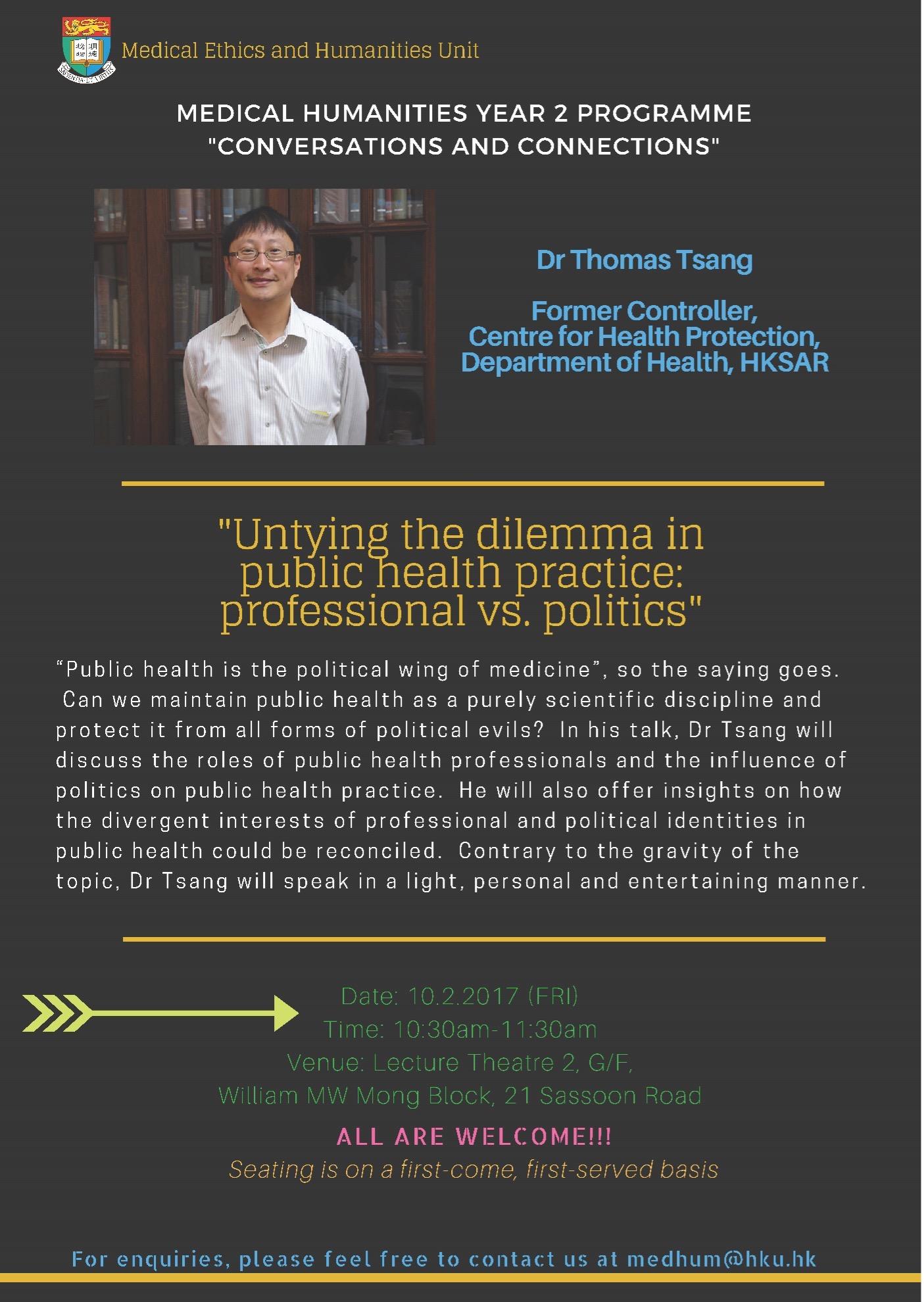 """Untying the dilemma in public health practice: professional vs. politics"""